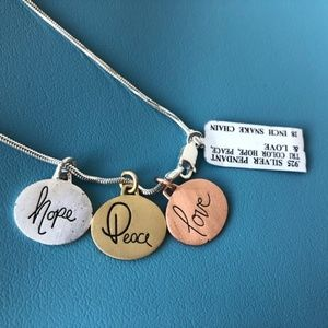 Jewelry - Tri color sterling silver hope love peace necklace